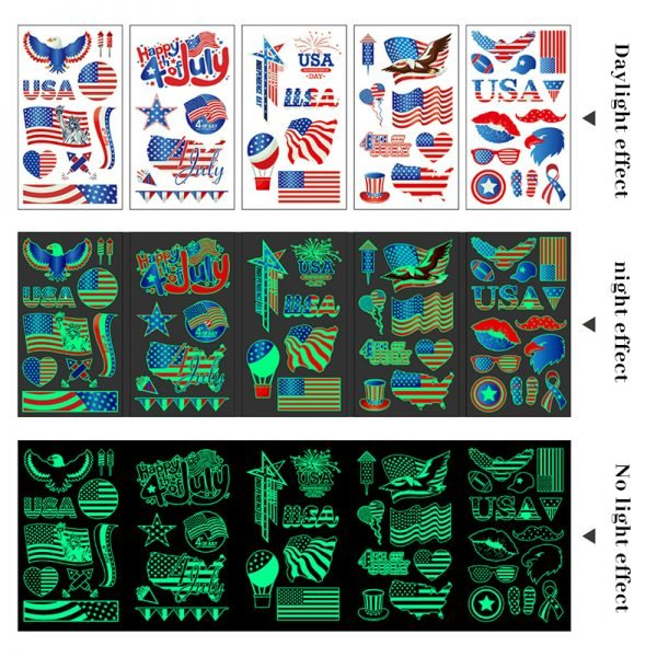 2021 American Independence Day Tattoo Luminous Stickers
