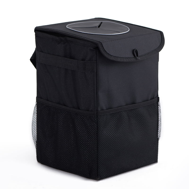 Waterproof Car Trash Can with Big Capacity and Storage Pockets Hang-Up Trash Box with Lid and Odorproof