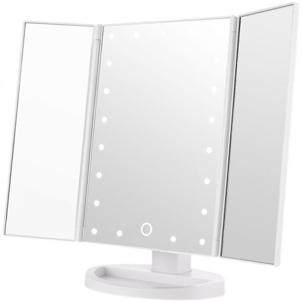 Touch Control of Light Magnifying Makeup Mirror Rechargeable and Double fold and X2X3 Magnification