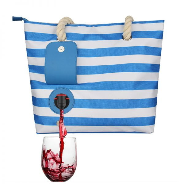 Beach Bag Tote With Hidden Insulated Wine Purse